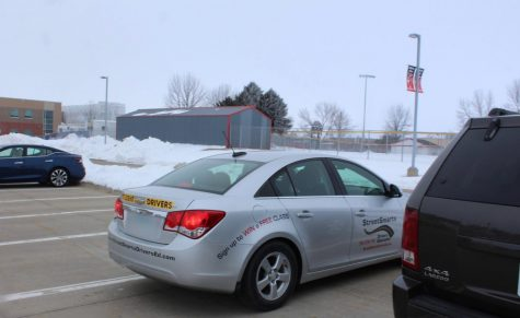Driver's Education students practicing parking in the North Polk High School parking lot for their first drive on Feb. 3 after school.
