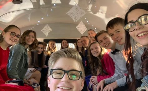 Students from the class of 2023 on their way to winter formal last February.