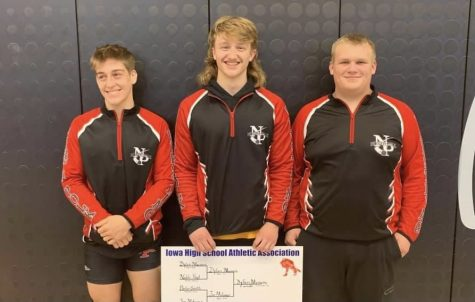 Chance Bockenstedt, Dylan Meiners, and Cole Sanger after qualifying for state at districts.