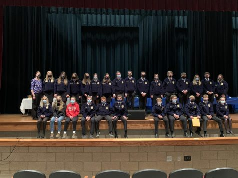 The North Polk FFA chapter gathers to celebrate the 2020-2021 school year.