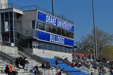 The Drake Relays press box on April 22.