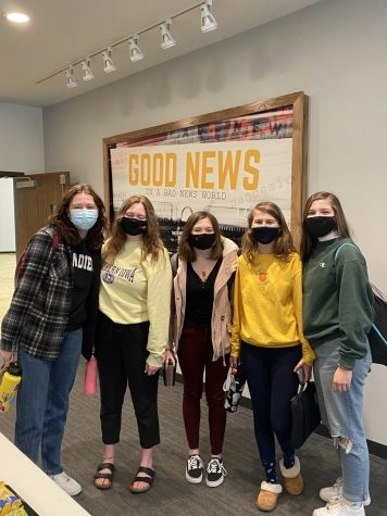 From left to right: seniors Sophie Vernon, Megan Theulen, Addi Thomas, Sydney Weers and Faith Sardou stand proud at their testing center at Lakeside Fellowship.
