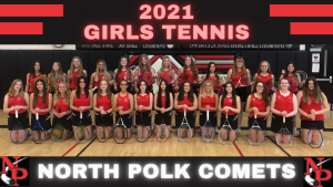 The entire girl's tennis team gathered together to take a picture for the 2021 season.