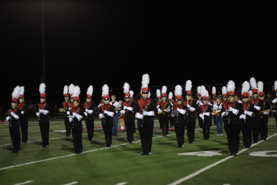 The+North+Polk+Band+performing+their+routine+at+half+time+of+the+football+game.