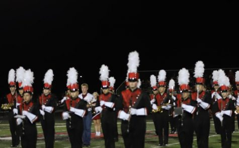 The North Polk Band performing their routine at half time of the football game.