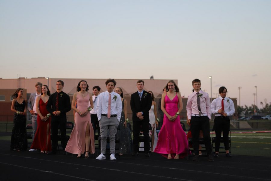 The homecoming court stand to recognized during Thursdays celebrations.