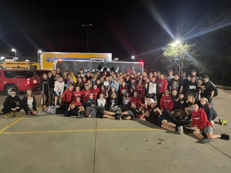The 2021 - 2022 North Polk Band and Colorguard at Pella on Sept. 25 after placing first.